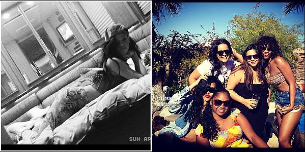 * 14 avril 2012':' Rihanna était présente au festival de musique « Coachella » en Californie.  La belle y était présente l'année dernière également. Elle a notamment cette fois-ci, assisté à la performance du DJ David Guetta. *