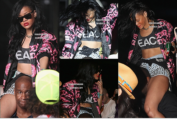 * 15 avril 2012':' Rihanna était présente au festival « Coachella » en Californie et y a performé ! Elle est allée rejoindre le DJ Calvin Harris pour performer sur les deux gros tubes  « We Found Love » et « Where Have You Been ».  *