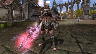 mon titan avec arme dragon et armure cheval