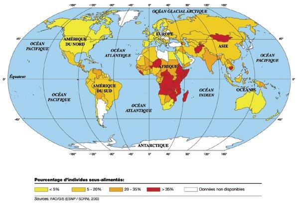 Carte de la faim dans le monde proportion de personnes - Les meilleurs brownies du monde ...