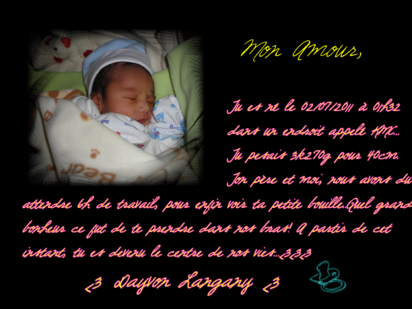 La naissance de mon bébé Dayvon Langany