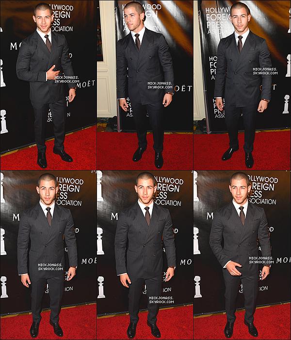 Le 13 août, Nick à été vu sur le tournage d'une promo pour les VMA 2015 à West Hollywood, en Californie. + Toujours le 13 août, Nick était présent au HFPA Annual Grants Banquet qui se déroulais au Beverly Wilshire Four Seasons Hotel à Beverly Hills, en Californie. + Lors de cette cérémonie, Nick à aussi performer.