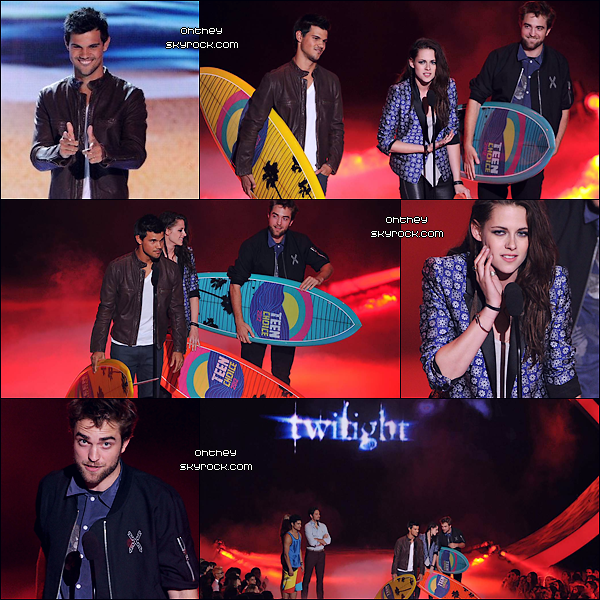 KRISTEN STEWART - ROBERT PATTINSON - TAYLOR LAUNTER Article ZOOM, Le 22 juillet 2012, Teen Choice Awards, Hollywood