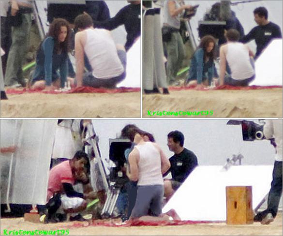 14/11/10 rob et Kristen tournent une scène d'échec pendant le tournage de Breaking dawn . les photos ne sont pas très nettes mais on arrive quand même à les distinguer ( rob et le gars au tee shirt blanc  ) .