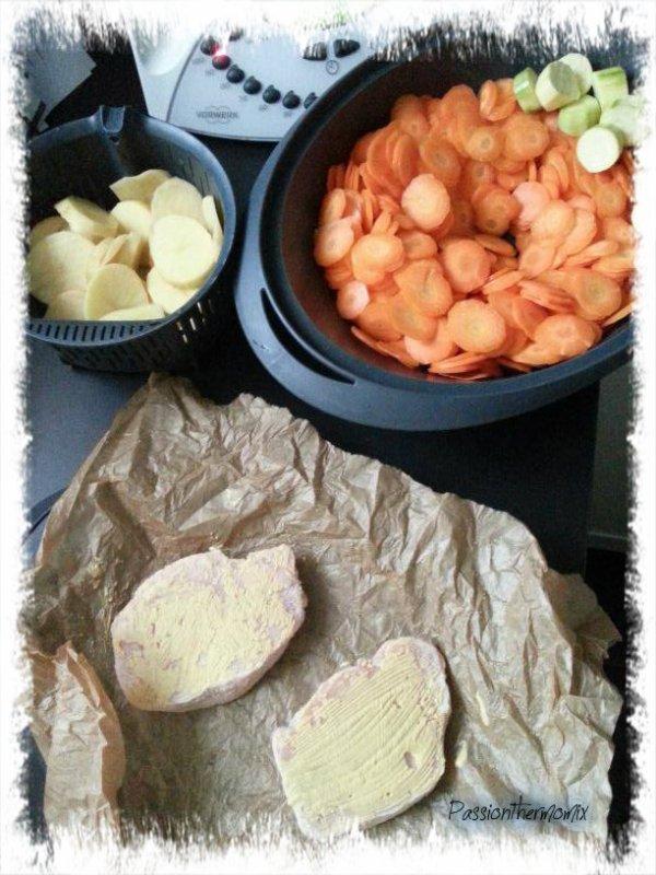 Multi cuisson light : carottes et pommes de terre à la sauce aux légumes crémés