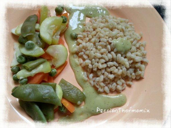 Multi-cuisson de blé aux légumes, sauce laitue et flan coco