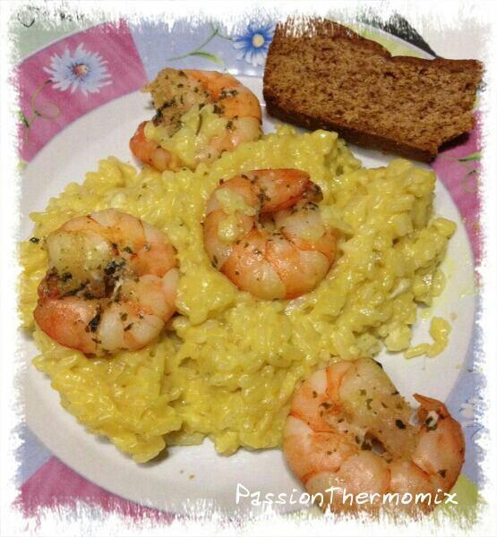 Risotto aux crevettes, lait de coco & curry