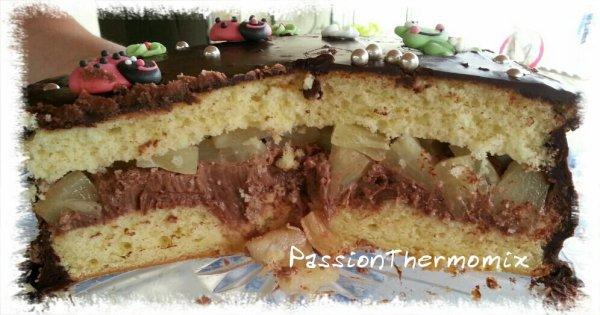 Gâteau au nutella et aux poires
