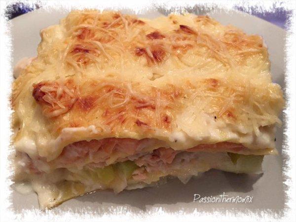 Lasagnes aux poireaux & aux 2 saumons