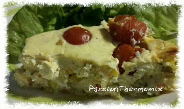 Gâteau de fromage blanc aux courgettes & tomates cerise