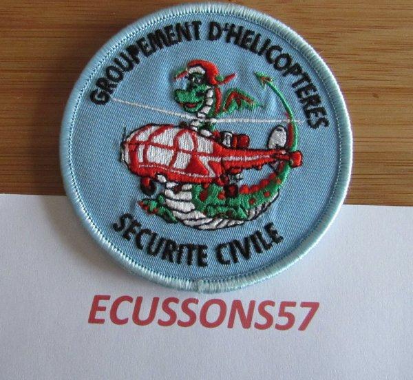 ÉCUSSON GROUPEMENT HÉLICOPTERE ALOUETTE III DRAGON SÉCURITÉ CIVILE