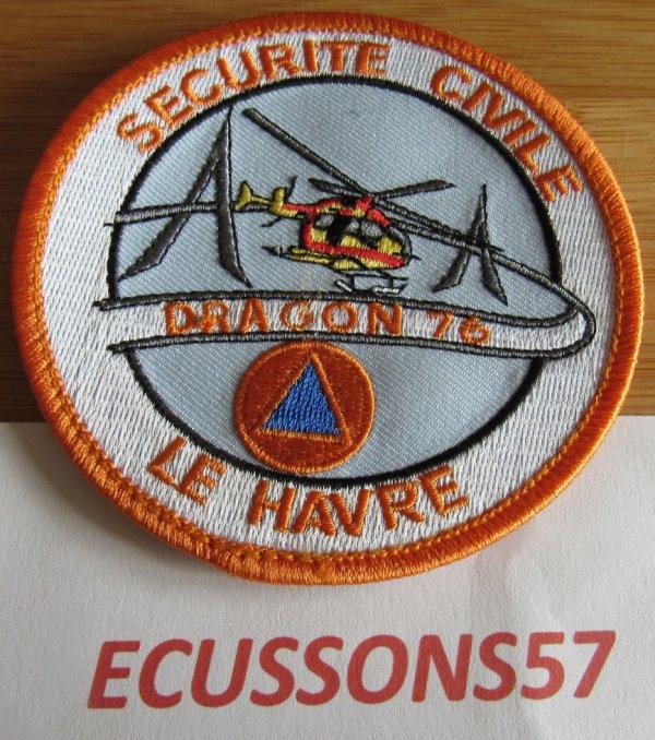 ÉCUSSON DRAGON HÉLICOPTÈRE SÉCURITÉ CIVILE 76 SEINE MARITIME