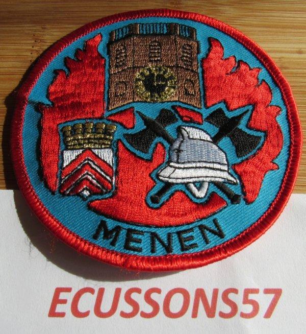 ÉCUSSON POMPIER BELGE DE MENEN (MENIN) RARE