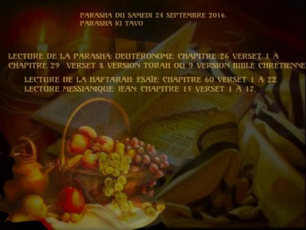 Parasha du samedi  24 septembre 2016.