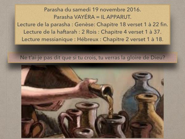 Parasha du samedi 19 novembre 2016.