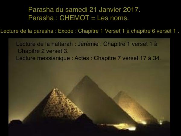 Parasha du samedi 21 janvier 2017.