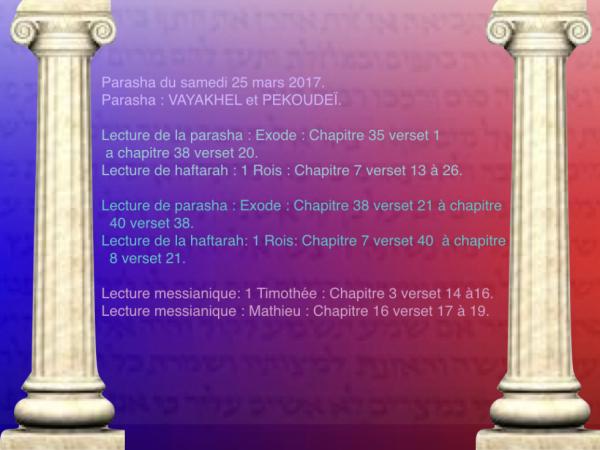 Parasha du samedi 25 mars 2017.