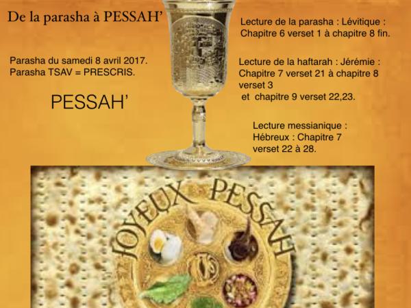 Parasha du samedi 8 avril 2017 et PESSAH'
