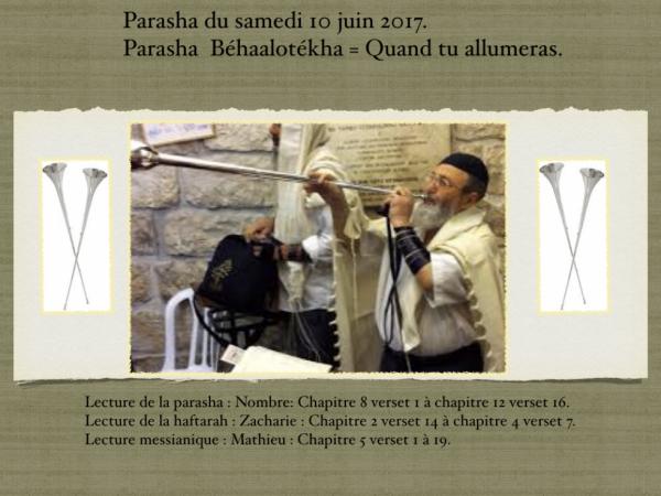 Parasha du samedi 10 juin 2017.