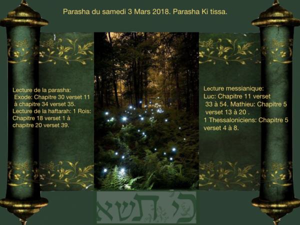 Parasha du samedi 3 mars 2018.