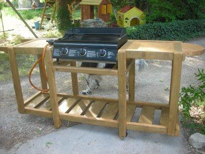 Meuble en bois pour une plancha construction roulotte - Fabriquer une plancha ...