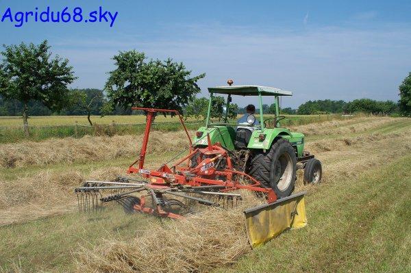 Deutz-Fahr D62 07 + andaineur FELLA 1 toupie (à la ferme voisine) (27.06.10)