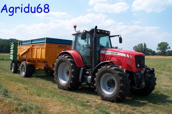 MF 7480 + benne ROLLAND 105 + char REISCH 10T (14.07.10)