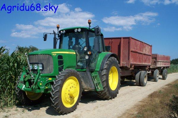 John-Deere 6630 + benne de camion transformé 11T + char 8T (19.07.10)
