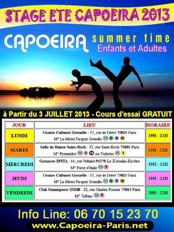 Capoeira Paris Cours Juillet 2013 Paris - Cours et initiation Gratuit planning horaires
