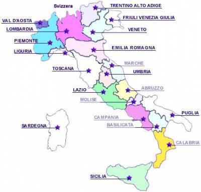 La carte géographique de l'italie   forza Italia 2004