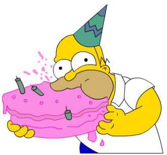 Homer qui mange son gateau d 39 anniversaire la famille simpson - Simpson anniversaire ...