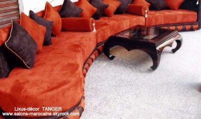 salon marocain en orange - Salon Marocain Moderne Orange Marron