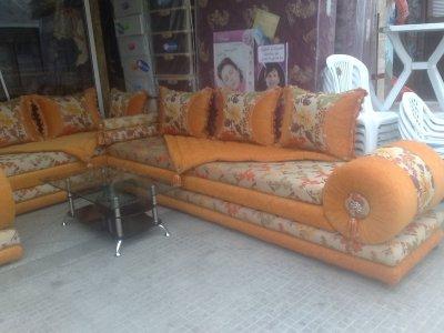 salon marocain orange - Salon Marocain Moderne Orange Marron
