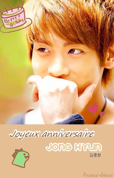 En Corée nous sommes le 8 avril , notre petit dinosaure vient donc d'avoir 22 ans (23 en corée) ,( Happy birthday to you ) Jonghyun !