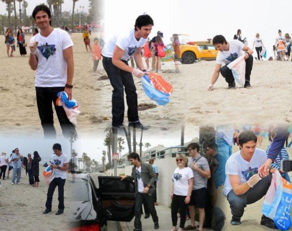 """Ian a Santa Monica """"let's get dirty"""" pour le nettoyage des plages le 21 avril 2012"""
