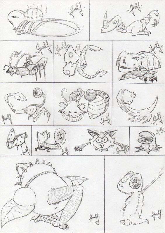 Planche de petits monstres 001
