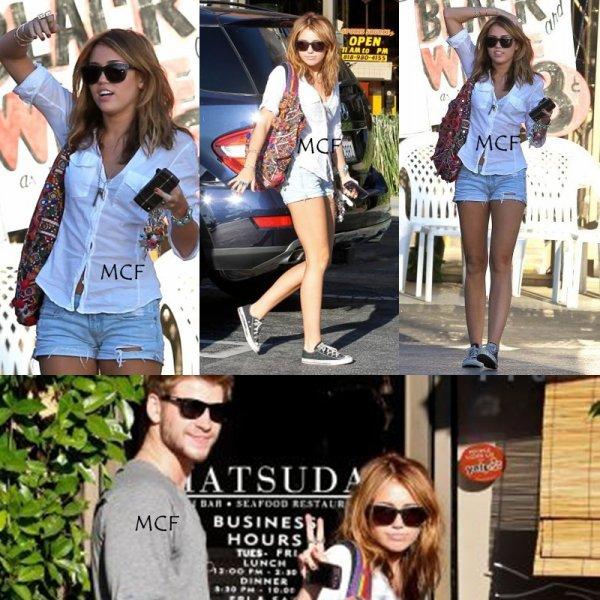 Miley a été vue allant déjeuner au restaurant de Sushi Matsuda à Studio City accompagnée de son cher Liam.