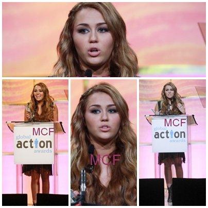 Miley était présente hier (18 février) au Global Action Forum 2011 Gala, où elle a reçu un award de la part d'Hilary Duff pour son travail accompli avec Get ur Good On.