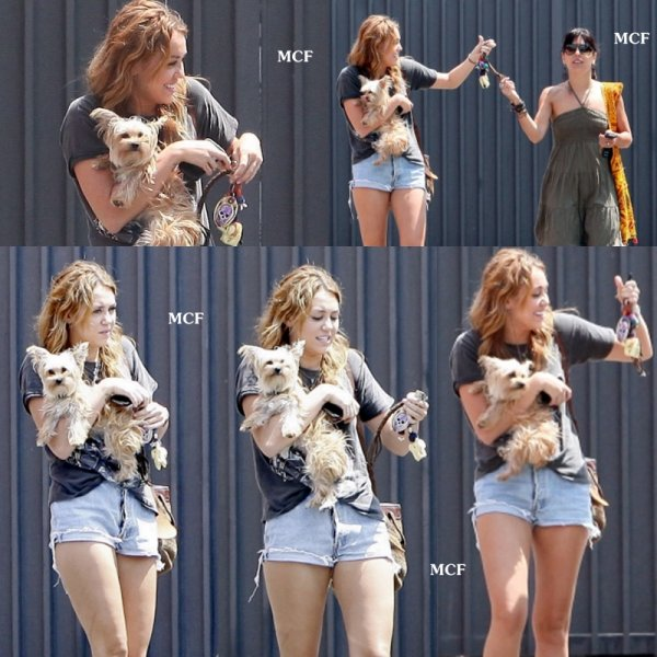 Miley a été photographiée hier (12 août) dans un parking de Beverly Hills, en compagnie de son amie danseuse Jen et de son chien Lila !!!