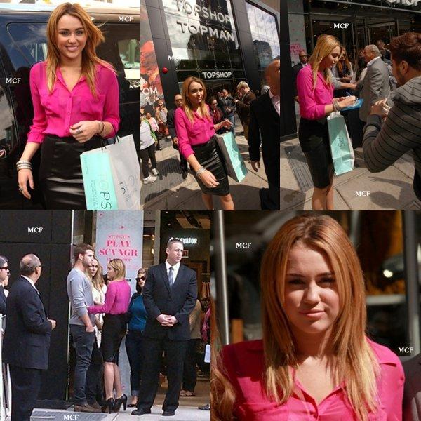 Miley à l'ouverture du magasin Topshop !!!