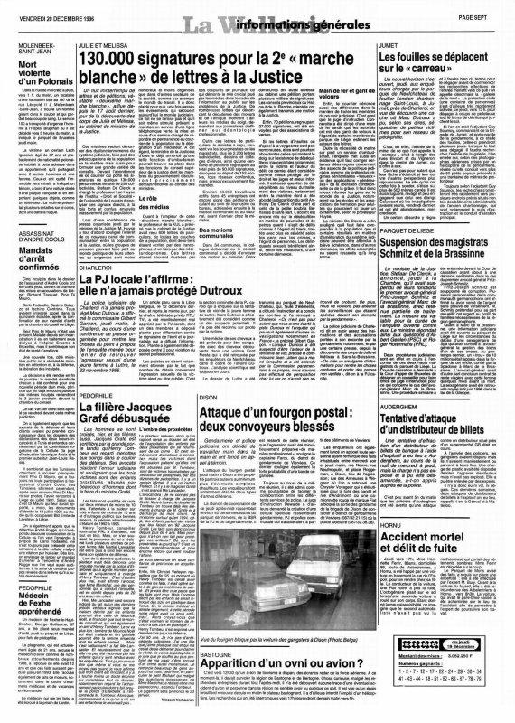 130.000 signatures pour la 2 e «marche blanche»(La Wallonie  du vendredi 20 décembre 1996 page 7)