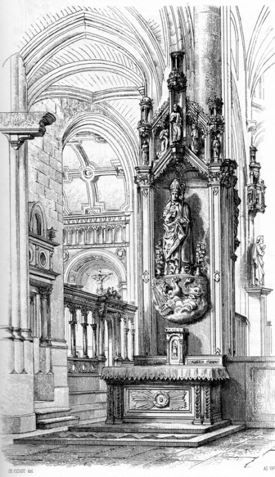 Eglise d'Ervy le Châtel, autel St Nicolas gravure