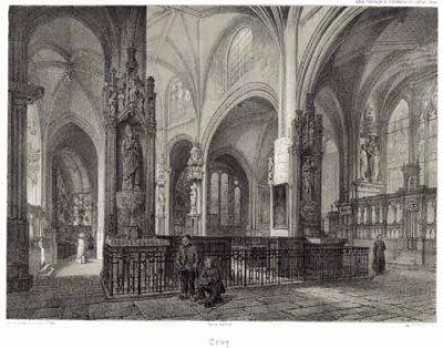 Eglise d'Ervy le Châtel, entrée du coeur gravure