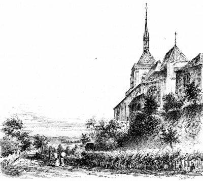 Eglise d'Ervy le Châtel, vue des ancien fossés gravure