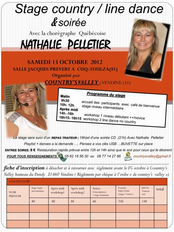 SAMEDI 13 OCTOBRE 2012 STAGE COUNTRY NATHALIE PELLETIER