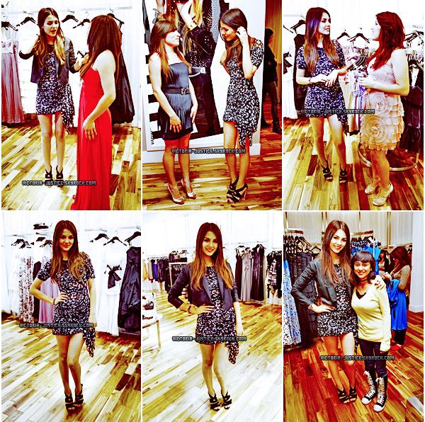 18 Avril 2011   Vic' était à la BCBG Max  Azria  pour un concours de bal organisé dans un commercial à Century City.