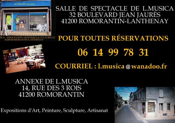 ASSOCIATION ARTISTIQUE ET CULTURELLE L.MUSICA 32 BOULEVARD JEAN JAURÈS 41200 ROMORANTIN-LANTHENAY