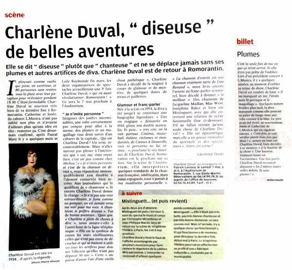 L'Musica présente Charlène Duval à l'auditorium de Romorantin le 7 mai 2016 à 21 heures