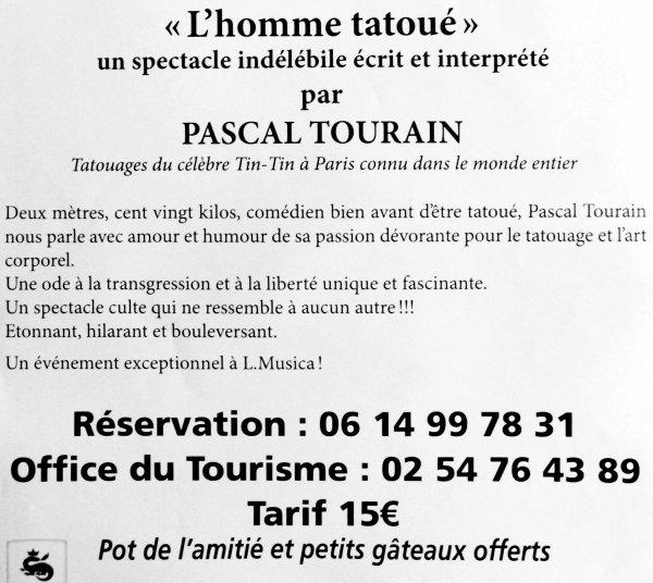 """L'MUSICA VOUS PRÉSENTE LE SAMEDI 11 MARS 2017 À 21H """"L'HOMME TATOUÉ"""" PAR PASCAL TOURAIN"""