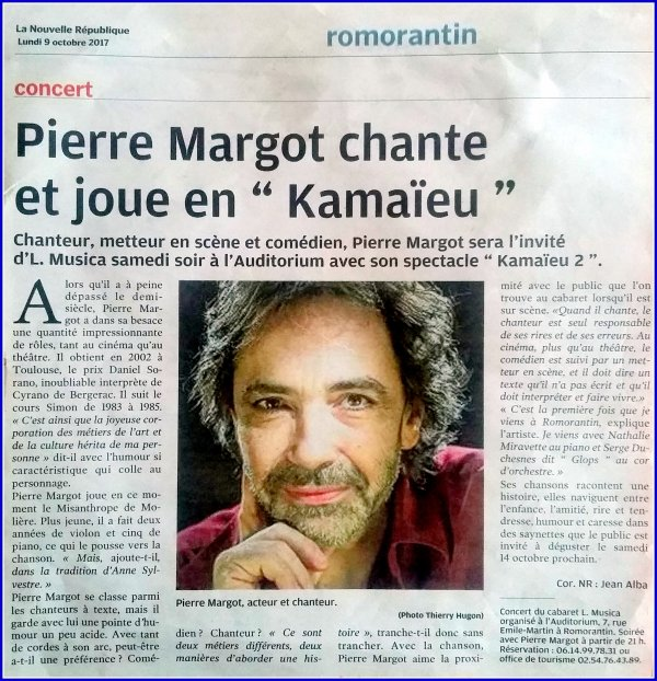 Il y a du Bobby Lapointe chez PIerre Margot article de la Nouvelle République du 20 octobre 2017